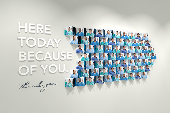 Here Today Because of You display