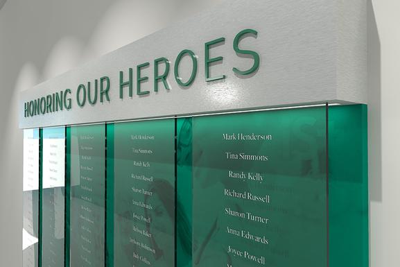 Honoring our Heroes wall display