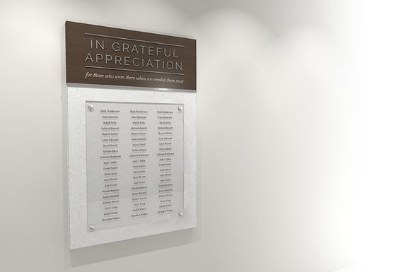 In Grateful Appreciation display